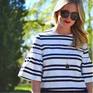 NWT Zara Black & White Stripe Bell Sleeve Crop Top